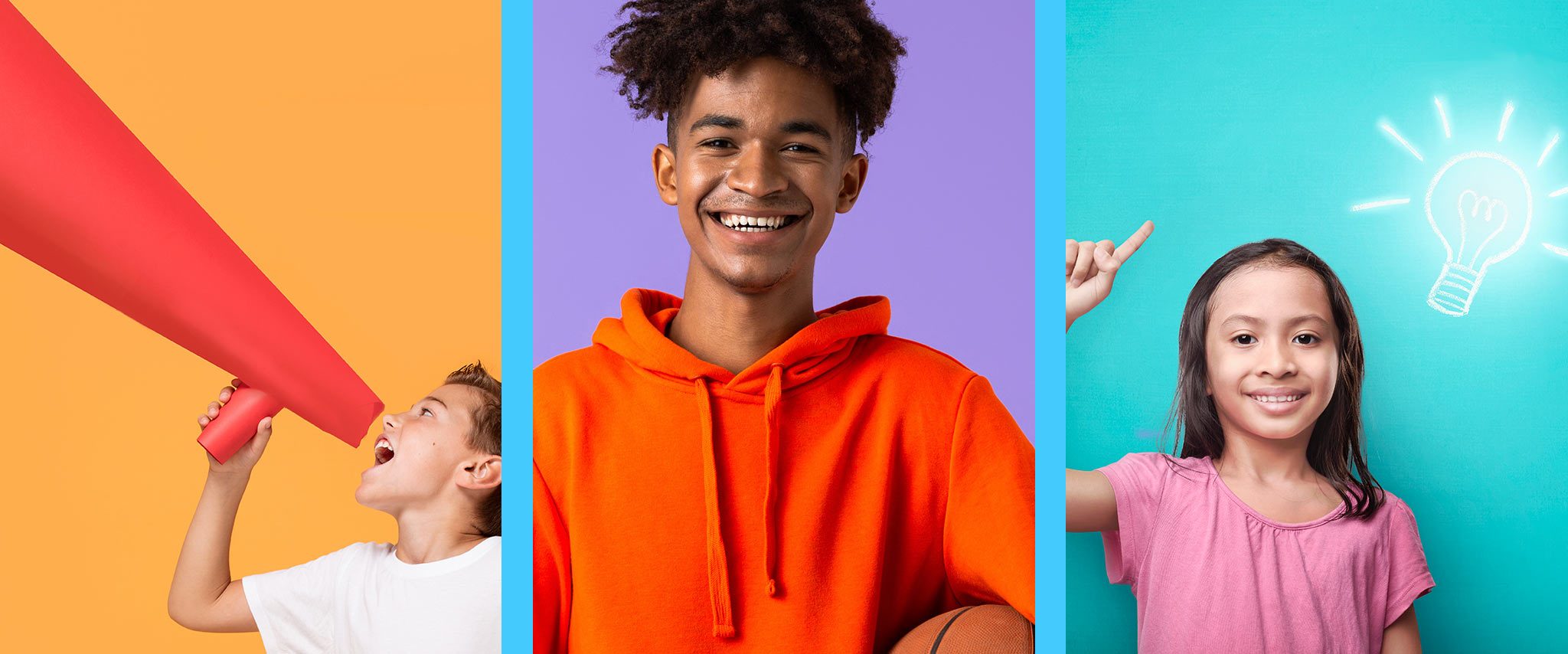 a triptych photograph of 3 children smiling
