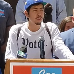 Youth Forward board member Jay Franco speaking at the Sac Kids First press conference on April 18, 2019